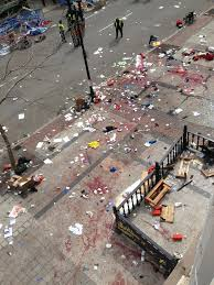 Remnants after two bomb blasts at Boston Marathon. Courtesy of theblaze.com 4/15/13